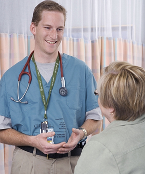 health professional with patient