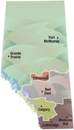 Alberta map of AHS zones