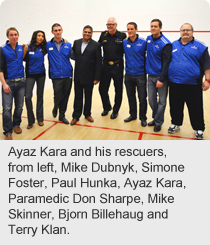 Ayaz Kara and his rescuers, from left, Mike Dubnyk, Simone Foster, Paul Hunka, Ayaz Kara, paramedic Don Sharpe, Mike Skinner, Bjorn Billehaug and Terry Klan.
