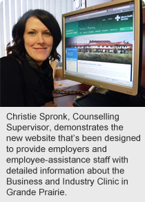 Christie Spronk, Counselling Supervisor, demonstrates the new website that's been designed to provide employers and employee-assistance staff with detailed information about the Business and Industry Clinic in Grande Prairie.