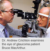Dr. Andrew Crichton examines the eye of glaucoma patient Bruce MacArthur
