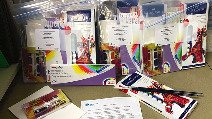 """Art supplies and kits are being handed out to promote the healing power of art. """"Providing artist kits to clients in South Zone removes many barriers and allows participation in this leisure, long after their therapeutic program ends,"""" says recreation therapist Heidi Davis."""