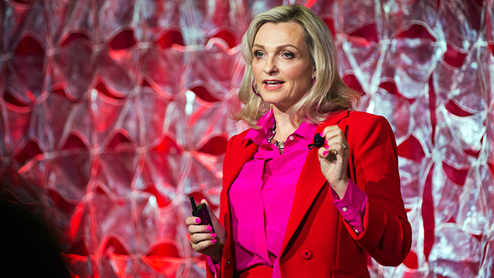 Newly recognized as one of Canada's Top 100 most powerful women, Dr. Valerie Taylor is shown here speaking at the University of Calgary Cumming School of Medicine Dean's Talk event in 2019.