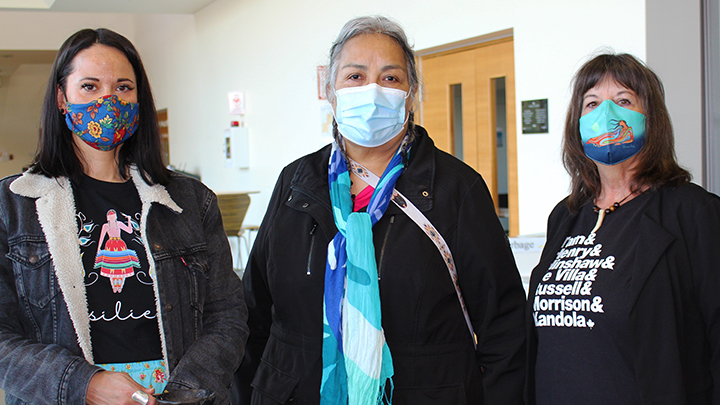 Indigenous Elder Loretta Parenteau-English, centre, conducted a traditional smudging ceremony to cleanse and purify the new COVID-19 immunization centre in Grande Prairie, which has the capacity to serve 1,300 clients a day. Here, Parenteau-English is shown with her helpers Leanna Willier, left, and Kelly Benning of the Grande Prairie Friendship Centre.