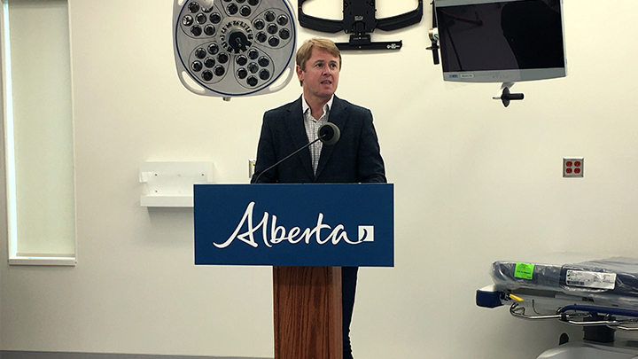 Health Minister Tyler Shandro is shown announcing two new operating rooms for the new Grande Prairie Regional Hospital, supported by the Alberta Surgical Initiative
