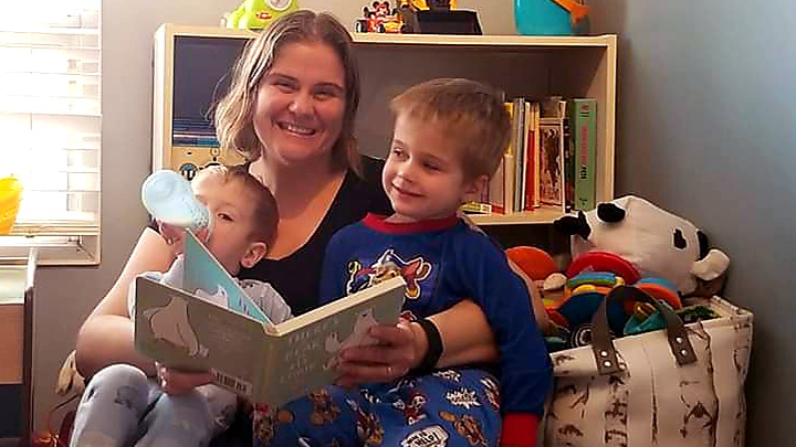 The Abbenhuis family crowns each evening by reading with their children. Shown, from left to right, Renly, mom Avalon and Ryker. Photo Credit: Abbenhuis Family