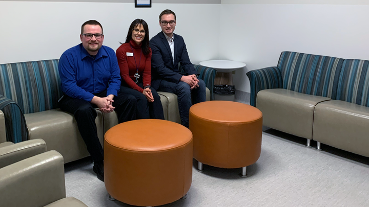 Daniel Erickson, left, Marci Neher-Schwengler and Richard Camacho try out the new furnishings in the Intensive Care Unit at Chinook Regional Hospital.