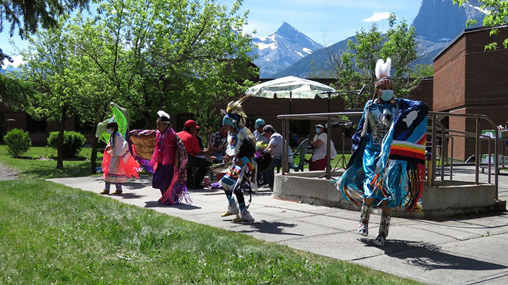 A traditional dance honoured the children of the Kamloops residential school during a ceremony held on National Indigenous Peoples Day to announce the new Indigenous Reconciliation Garden at Canmore General Hospital.