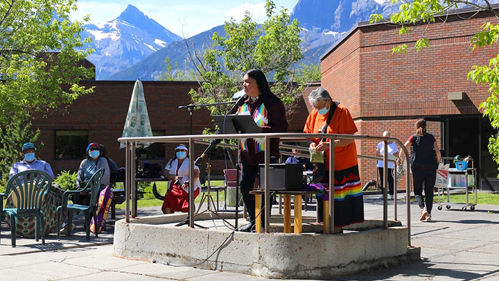 Kenny Hunter, an Indigenous liaison with Canmore General Hospital, speaks at a ceremony for the facility's new Indigenous Reconciliation Garden.