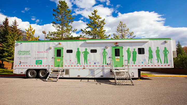 Alberta Health Services' Screen Test program brings its mobile mammography trailer to 120 smaller communities every year to safeguard the health of women in rural areas.