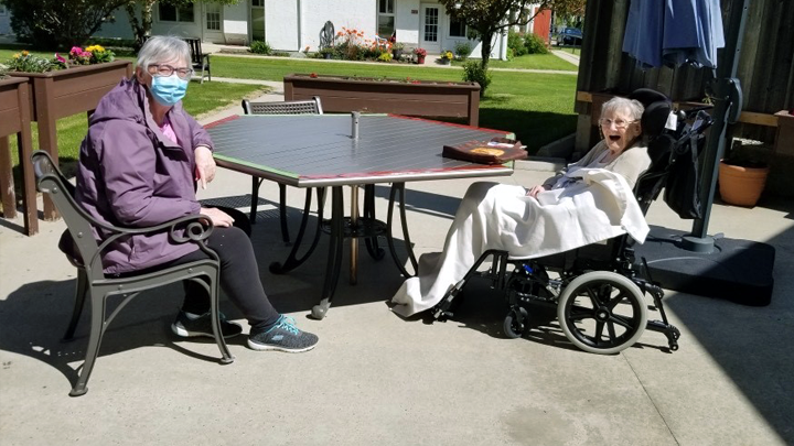 Despite the physical distancing, Pam Carritt and her mother Mary Jackson have never been closer thanks to the caregivers at Bethany Sylvan Lake.