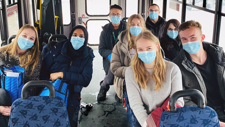 University of Calgary nursing students were treated to a local bus tour when they arrived in January for their practicums at the Northwest Health Centre in High Level and St. Theresa General Hospital in Fort Vermilion. Shown are: Rachael Gerdias and Hafsa Syed (left side of aisle); Paige Hutton and Zachary Eastman (front row on right side of aisle); Aleena Copithorne and Tegan Hills (middle row, right side) and High Level Allied Health physiotherapist Yufei (Steve) Cui and occupational therapist William Fitzgerald (rear row, right side).
