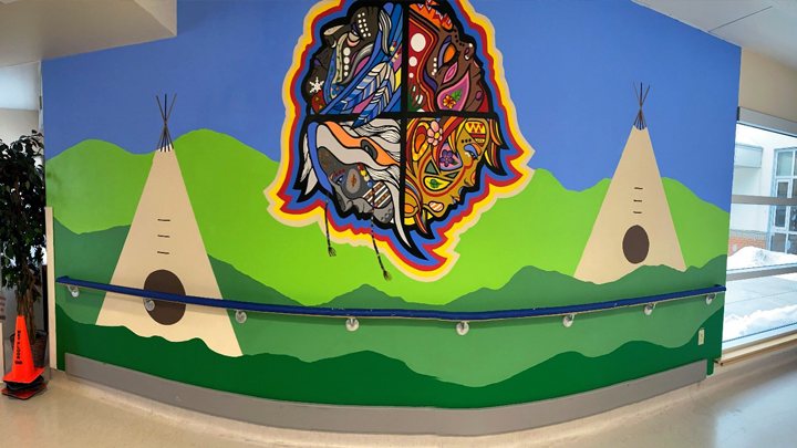 This medicine wheel mural by artist Chelsea Petluk at Sutherland Place in Peace River is part of the project that included murals, life stations and wayfinding in Peace River and Fairview Continuing Care.