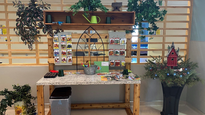 This horticulture life station provides hands-on greenhouse and gardening activities for residents.