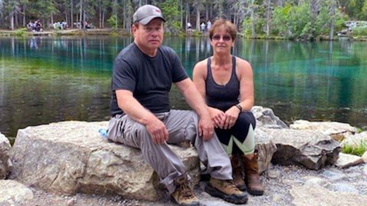 Darrell Parker and his wife Shirley take a break at Grassi Lakes near Canmore. Hours after this photo was taken, Darrell suffered a heart attack near the parking lot.