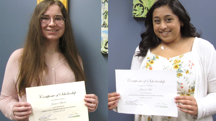 Jessica Sekora, left, and Jaanvi Lal, who both gave hundreds of hours of their time to care for patients at Red Deer Regional Hospital Centre, are now in university with support from the Landmark Group of Builders Youth Volunteer Scholarship.