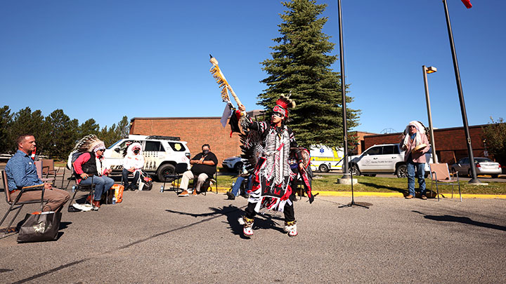 Sayder Duckchief performs a traditional Siksika dance at the ceremony.