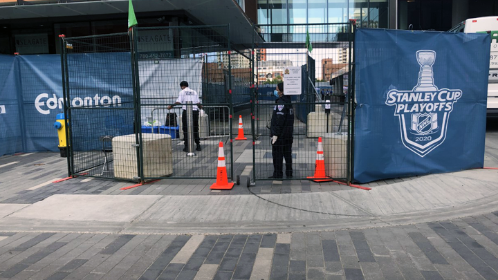During the Stanley Cup playoffs, the NHL Hub included designated sites for staff, players and team personnel. Games were played at Edmonton's Roger's Place (shown) and Toronto's Scotiabank Arena without spectators. AHS' Edmonton Zone Emergency Operations Centre (ZEOC) and members of the AHS NHL Taskforce worked to ensure the safety and well-being of all inside the hockey bubble, while being mindful of the surrounding community.