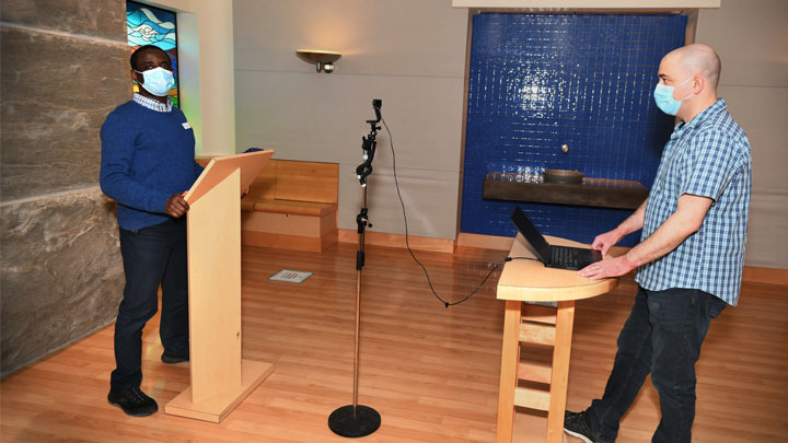The Alberta Children's Hospital Celebration of Life Service took place virtually through Zoom this year. The ceremony was led by AHS spiritual health practitioner Simon Mala, left, with support from telehealth technician, Kevin Murray, and other event committee members.